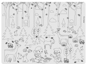 Little Bot Kids Colouring Placemat, Happy Forest, Waterproof, Easy to clean, Ultra soft for baby, toddler/kid