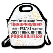 I Am Currently Unsupervised Lunch Tote Bag Special Lunch Bag Black For YOU