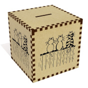 Large 'Cats On A Fence' Money Box / Piggy Bank