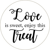 35 white Love is Sweet enjoy this treat Wedding Day sticky labels for favours, bags, thank you envelope seals etc