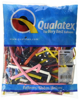 Qualatex 43956 246.1lRADNL AST 100CT Modelling or Twisting Balloons