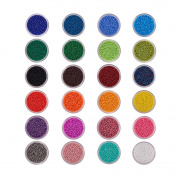 BENECREAT 1 Pack 24 Colour 11/0 Round Glass Seed Beads Sets Size 2x1.5mm with Individual Boxes Assortment