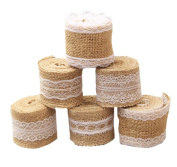 Jelacy 6 Pieces Natural Burlap Lace Craft Ribbon Roll with White Lace Trim Fabric Roll for DIY Handmade Wedding Decorations Lace Linen 200cm Each