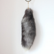"""44cm 17"""" Supper Huge Fluffy Silver Blue Fox Tail Fur Alopex Lagopus Handbag Accessories Key Chain Ring Hook Tassels Natural Colour Cospaly Toy"""