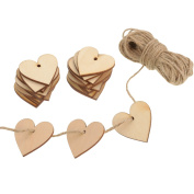 Outus 100 Pieces Wood Heart Blank Wooden Heart Embellishments 40 mm with 10 m Natural Twine for Wedding DIY Arts Crafts Card Making