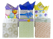 "12 Large Designer Gift Bags 41cm Lx 12""Wx 6""D, Best Value Assorted Designs by Heart Paper Products"