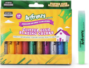 Pack of 10 Art Frenzy Glitter Glue - Glitter Pens - 10 Different Blazing Colours - Non-Toxic - by Utopia Home