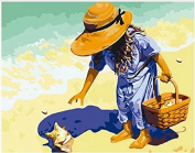 Dorara DIY Oil Painting Paint By Number Hand Paintworks 16×50cm Girl Picking Up Seashell On the Beach