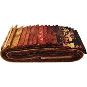 Bali Batiks Fire Bali Poppy 20 6.4cm Strips Jelly Roll Hoffman Fabrics BPP-310-Fire
