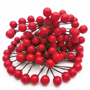 Artificial Red Holly Berry Pick Branch Wreath Pack of 100 for Christmas Tree for wedding party