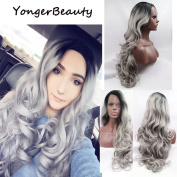 YongerBeauty Synthetic Lace Front Wig Left Part Long Body Wave Sliver Grey Replament Hair Wig for Women Ombre Grey 2 Tones Dark Roots Heat Resistant Half Hand Tied Fibre Hair Wig