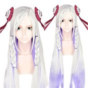 Anogol Hair Cap+Silver Mix Purple Cosplay Wig Long Straight Braided Costume Hair Women's Halleween Wigs