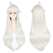 Anogol Hair Cap+Silver White Cosplay Wig Long Wavy Hair Women's Halleween Wigs Costume