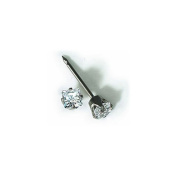 Inverness 14kt White Gold 3mm Square Princess CZ Piercing Earrings 130E