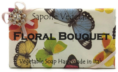 Alchimia Jewelled Floral Bouquet Vegetable Soap Handmade In Italy - 310ml Soap Bar