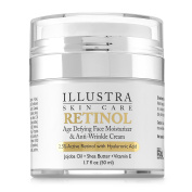 Best Retinol Anti-Ageing Anti-Wrinkle Face Moisturiser by Illustra Skin Care – Organic Hyaluronic Acid, All-Natural Botanicals of Green Tea, Jojoba Oil, Shea Butter - Moisturises & Hydrates Dry Skin