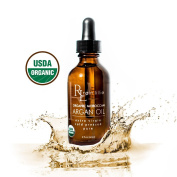 Rain Lillie Organic Moroccan Argan Oil - for Face, Hair, Skin - USDA Certified Organic, 100% Pure, Cold-pressed Extra Virgin Raw Argan Oil of Morocco