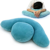 QHYT Office Napping Pillow Desk Rest Cushion for Side Sleeper Blue