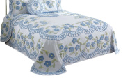 Better Trends/ Pan Overseas Bloomfield Bedspread, 300cm x 300cm /King, Blue