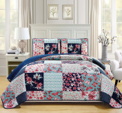 Mk Collection 3pc Bedspread coverlet quilted Flower Butterfly Off White Navy Blue Teal green Red Full/Queen Over Size 270cm x 240cm #Stella New