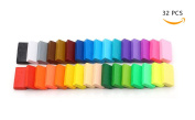 Bestsupplier 32 PCS DIY Coloured Clay, Colourful Fimo Effect Polymer Clay Soft Moulding Craft Oven Bake Clay Sampler Creative Fun
