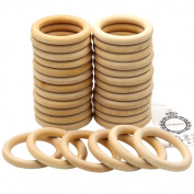 MoMaek 30 Pack Wood Rings Circles Unfinished Wood for Craft, Ring Pendant and Connectors Jewellery Making, 2.75 Inch Diameter