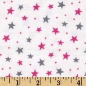 Flannelland Stars Around White/Pink Fabric