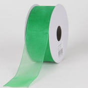 Emerald Green 3.8cm . Wide Sheer Organza Ribbon - 25 Yards