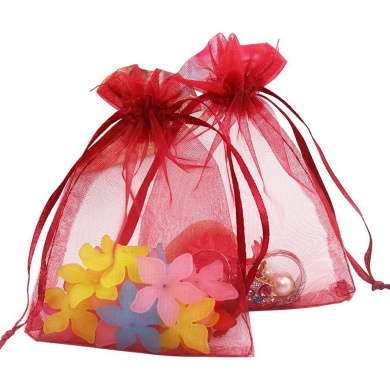 "100PCS Extra Large Organza Gift Bags13X18CM (5"" x 7"") Drawstring Pouches Jewellery Wedding Party Favour Gift Bags Candy Bags (Wine Red)"