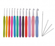 Ilyever 12 Piece Crochet Hooks Set with 4 Eye Blunt Needles-Soft Ergonomic Grip Handle and Aluminium Knitting Needle in Case-Size 2mm to 8mm DIY Weave Yarn Kit Perfect for Arthritic Hand