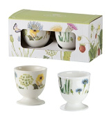 GILDE 2 Egg CupsWild Flowers and Butterfly Porcelain In a Gift Box Decorated