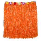 Blulu 2.7m Hibiscus Orange String with Colourful Faux Flowers Hula Grass Table Skirt for Party Decoration, Events, Birthdays, Celebration