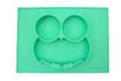"""Silicone Mini Placemat, Owl So Cute 27cm x 20cm x 1"""" Baby Feeding Mat Fits Most Highchair Trays"""