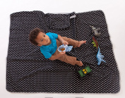 Luv Bug Waterproof Here and There Baby Play Mat, black stars