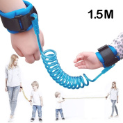 AStorePlus Especially Free Move Flexibility Anti Lost Wrist Link Safety Harness Leash Strap Baby Wristband For Kids Children Baby Toddlers Play Arround in Safe, 1.5M Blue