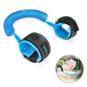 Baby Child Anti Lost Link Belt Wrist Strips Safety Hook and loop Wrist Link Walking Hands Belt 250cm /2.5m Harness Strap Rope Leash for Toddlers, Kids, Blue by ELOKI