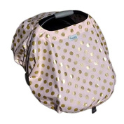Sprout Shell 4-in-one Infant Baby Car Seat Cover, Pink with Gold Metallic Dots