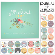 First Year Baby Memory Journal Book + Bonus Monthly Milestone Stickers. Baby shower gift & keepsake to record photos & milestones. Five year scrapbook & picture album for boy & girl babies.
