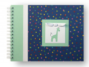 Baby Memory Book | Giraffe Baby Book | Navy Multi Polka Dot