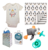 """Baby Penguin"" 5 Item Baby Shower Gift Set, Boy, with FREE Gift Bag"