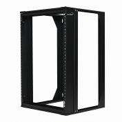 NavePoint 15U Wall Mount IT Open Frame 48cm Rack with Swing Out Hinged Gate Black