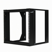 NavePoint 9U Wall Mount IT Open Frame 48cm Rack with Swing Out Hinged Gate Black