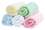 Muslin Baby Washcloths Set of 5 Bathing Towels Reusable Wipes 30cm x 30cm Organic Cotton Soft Absorbent Gift for Skin Care