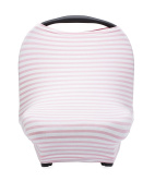 The Good Baby 4 in 1 Car Seat Cover for Girls - Stretchy Carseat Canopy, Nursing Cover, Grocery Cart Cover, Infinity Scarf - Pink/White Stripes
