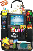 Car Backseat Organiser with Tablet Holder for Kids and Toddlers by DMoose 60cm -by-48cm (Large) – Insulated Thermal Pockets, Strong Buckles - Use as Seat Back Protector, Kick Mat, Car Organiser