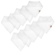 Adovely Bandana Baby Bibs White, Organic Cotton w/ Fleece, 10 Pack