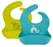 Otterlove Waterproof Silicone Bib. Best LFGB Grade Silicone -2 baby Bibs Set