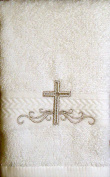 Integrity Designs Linen Cotton Terrycloth Baptism/Christening Cloth, White with Silver Cross Embroidery, 100% Cotton Premium Quality, 33cm x 33cm Size, Quantity of 1 per package, Elegant and Practical Heirloom Baby Keepsake Gift