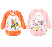 Leyaron 2 Pack Unisex Infant Toddler Baby Waterproof Sleeved Bib, 6 Months-3 Years, Orange Monkey and Pink Rabbit