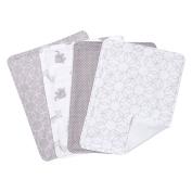 Trend Lab Circles 4 Piece Burp Cloth Set, Grey/White